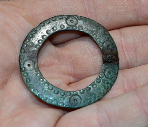A rare Early Anglo Saxon bronze Annular decorated ring brooch found in North Yorkshire. SOLD
